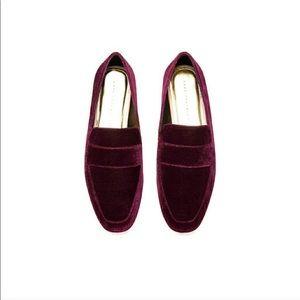 Zara Red Velvet Loafers